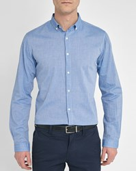 Knowledge Cotton Apparel Blue Chambray Slim Fit Shirt