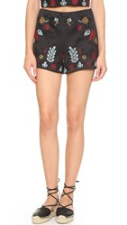 J.O.A. Embroidered Shorts Black