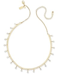 Kate Spade New York Gold Tone Dangle Imitation Pearl Collar Necklace