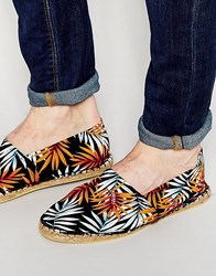 Asos Canvas Espadrilles In Black With Hawaiian Floral Print Black