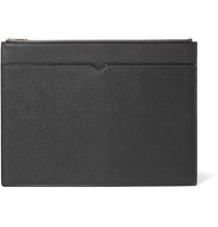 Valextra Grained Leather Document Holder Gray