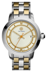 Tory Burch 'Tory' Large Round Bracelet Watch 37Mm Gold Silver