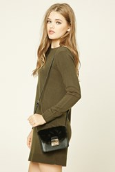 Forever 21 Structured Faux Fur Crossbody Black