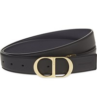 Christian Dior Homme Reversible Grained Leather Belt Black Navy Gold