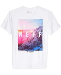 Neff Men's Quad Mountain Graphic Print T Shirt White
