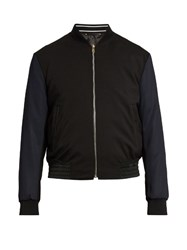 Paul Smith Contrast Sleeve Wool Blend Bomber Jacket Navy