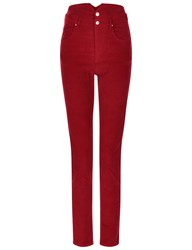 Etoile Isabel Marant Red Cord High Waisted Farley Trousers