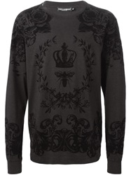 Dolce And Gabbana Floral Bee And Crown Print T Shirt Black