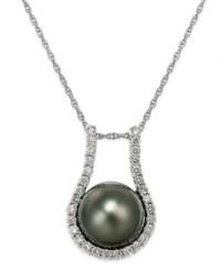 Macy's Tahitian Pearl 11Mm And Diamond 5 8 Ct. T.W. Pendant Necklace In 14K White Gold Black