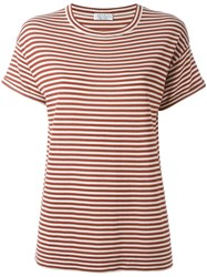 Brunello Cucinelli Striped T Shirt Red