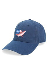 Harding Lane Usa Needlepoint Baseball Cap Navy Blue
