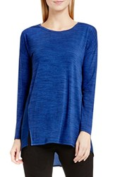Vince Camuto Women's Two By Woven Back Knit Top Harbor Blue