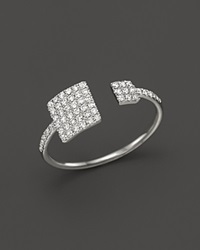 Meira T 14K White Gold Open Square Ring With Diamonds