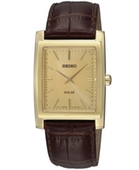 Seiko Watch Men's Solar Brown Leather Strap 28Mm Sup896