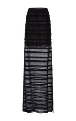 Oscar De La Renta Floor Length Fish Tail Striped Skirt Black