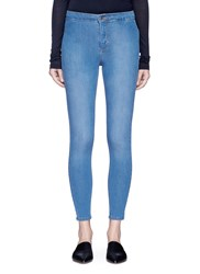 Topshop 'Joni' High Waist Petite Cropped Denim Pants Blue