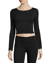 Romeo And Juliet Couture Textured Stretch Knit Crop Top Black