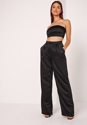 Missguided Satin Wide Leg Trousers Black Black