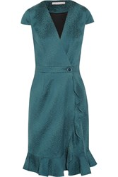 Matthew Williamson Jacquard Wrap Dress Blue