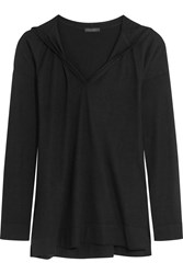Donna Karan Asymmetric Cashmere Hooded Sweater Black