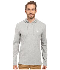 Nike Club Jersey Pullover Hoodie Dark Grey Heather White Men's Clothing Gray