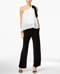 Inc International Concepts Petite Colorblocked One Shoulder Jumpsuit Only At Macy's Deep Black
