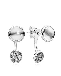 Pandora Design Ear Jackets Sterling Silver Cubic Zirconia And Glass