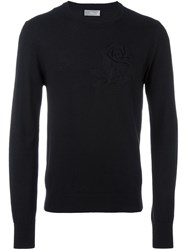 Christian Dior Homme Rose Patch Jumper Black