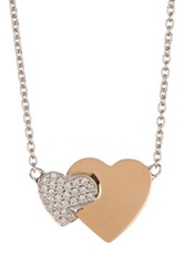 Bony Levy 18K White And Rose Gold Pave Diamond Double Heart Pendant Necklace 0.10 Ctw Metallic