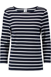 Iris And Ink Madeline Breton Striped Cotton Top Navy
