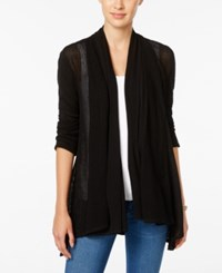 Styleandco. Style Co. Mixed Media Open Front Cardigan Only At Macy's Deep Black