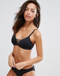 New Look Microfibre Lace Insert Bralet Black