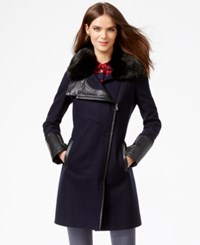 Rachel Rachel Roy Faux Fur Trim Asymmetrical Walker Coat