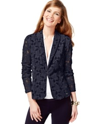 Inc International Concepts Petite Illusion Mesh Floral Blazer Only At Macy's