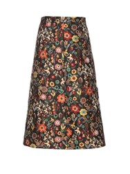 Red Valentino Fancy Flower Jacquard A Line Midi Skirt Black Multi