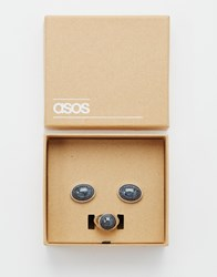 Asos Ring And Cufflink Gift Set In Silver With Black Stone Silver