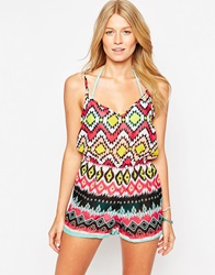 Lipsy Michelle Keegan Aztec Playsuit Multi