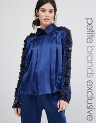 Starry Eyed Petite Beaded Satin Blouse Navy