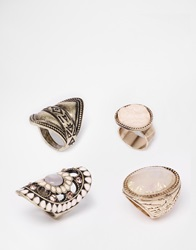 New Look Sandy Iridescent Ring Multipack Pink