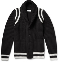 Ovadia And Sons Shawl Collar Ribbed Wool Blend Cardigan Black