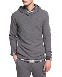 Vince Racking Thermal Stitch Hooded Sweater Heathered Carbon H. Carbon