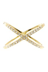 Sterling Forever 14K Yellow Gold Plated Sterling Silver Sparkling Cz X Ring Metallic