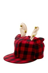 Bioworld Reindeer Buffalo Plaid Baseball Cap Red