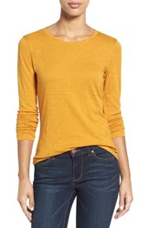 Caslonr Women's Caslon Long Sleeve Slub Knit Tee Orange Inca