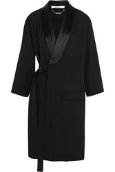 Givenchy Belted Trench Coat In Satin Trimmed Wool Black