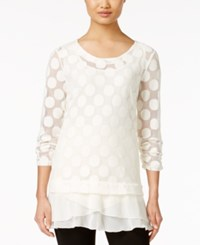 Styleandco. Style And Co. Polka Dot Lace Tunic Only At Macy's Vintage Cream