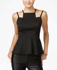 Material Girl Juniors' Strappy Pinstriped Peplum Top Only At Macy's Black