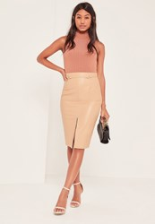 Missguided Nude Harness Detail Faux Leather Midi Skirt Tan