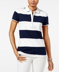 Tommy Hilfiger Rugby Striped Polo Top Classic White Core Navy
