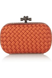 Bottega Veneta The Knot Watersnake Trimmed Intrecciato Satin Clutch